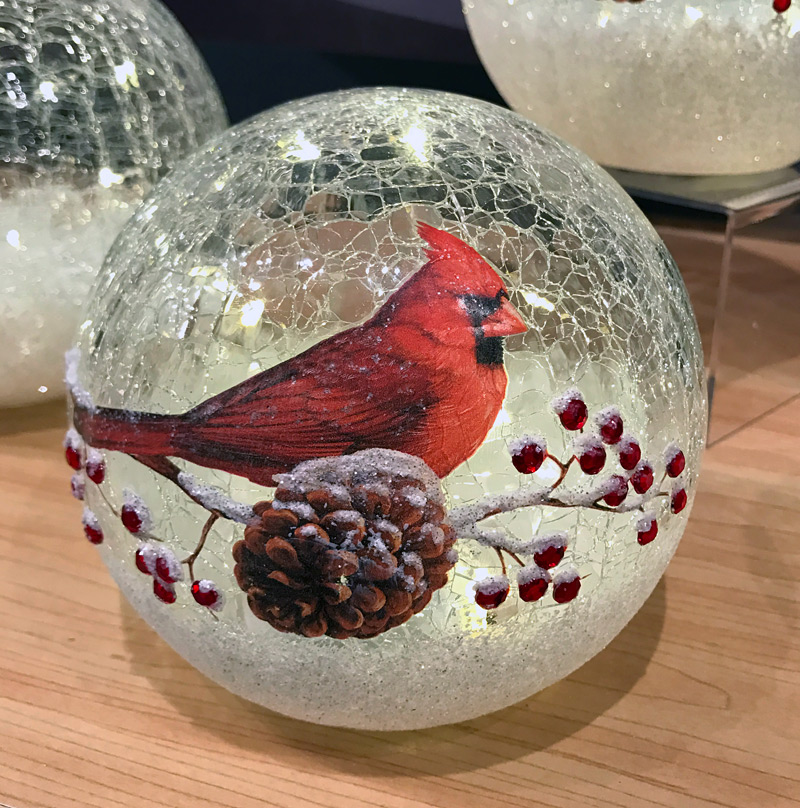 Lighted Crackle Glass Cardinal - 6 Inch Battery Operated ...