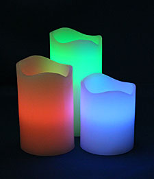 Set of 3 Multi Function Remote Control Color Changing Candles