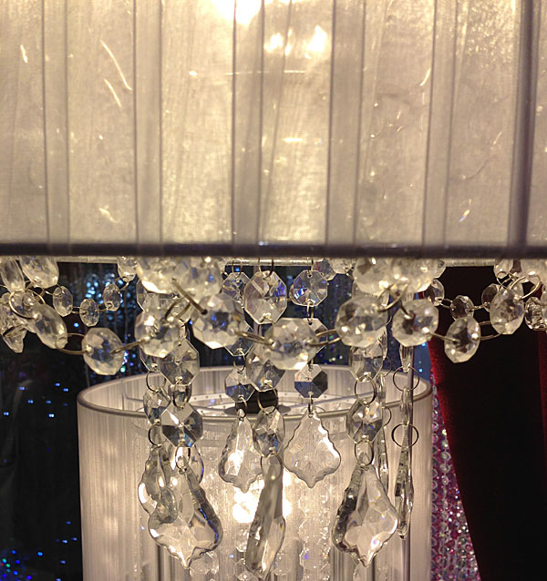 White Fabric Chandelier - Hanging Crystals and Pendants ...
