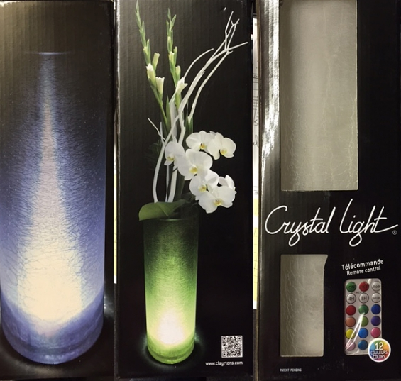 Crystal Light Illuminated Crackle Glass Vase Remote Control