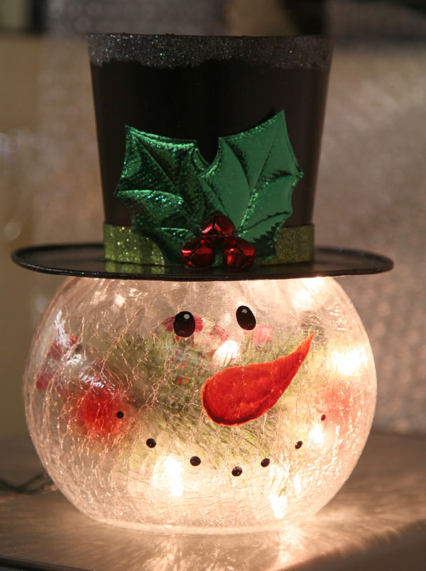 Lighted Crackle Glass Snowman 8 Inch Electric Buy Now