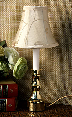 12 Inch Electric Candle Lamp Gold Base White Stem Buy Now