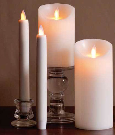 8 Inch Ivory Moving Flame Battery Operated Taper Candle