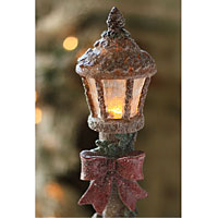 Battery Operated Resin Wood With Garland Lamp Post Amber Led