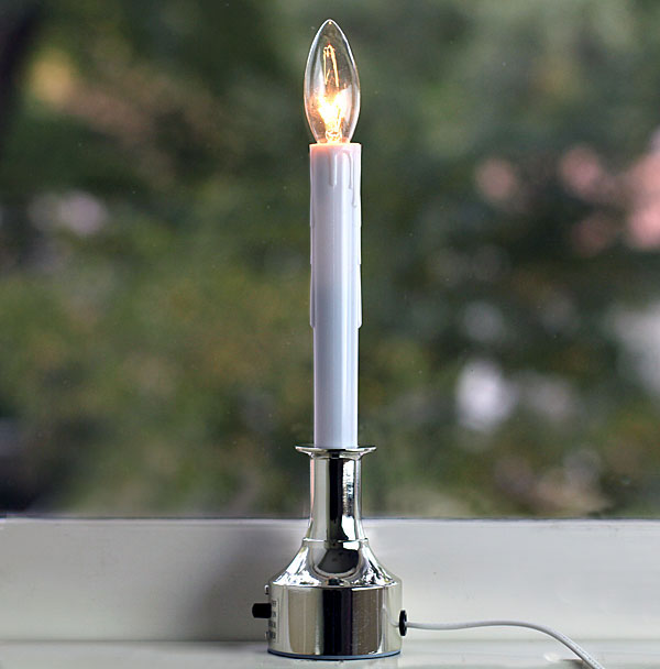 Electric Christmas Window Candle - Adjustable Height Silver Finish ...