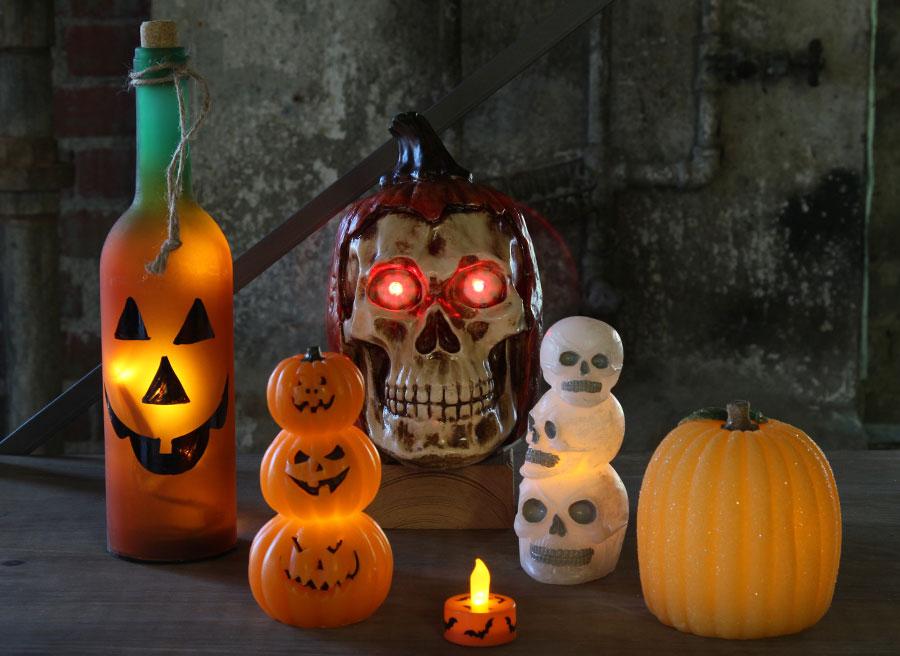 battery operated wax skulls halloween candle - Halloween Candle