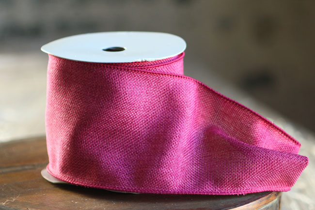 Fuchsia Faux Burlap 100 Wired Ribbon 4 Inch X 10 Yard