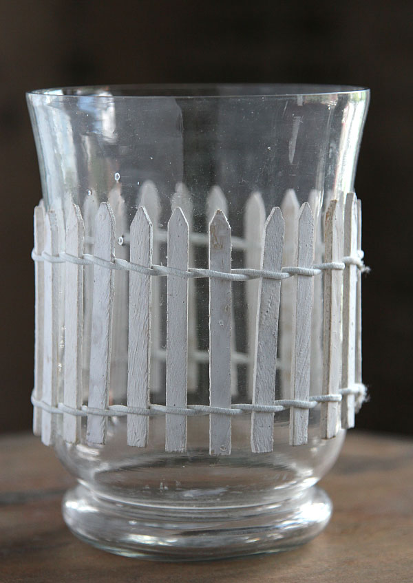 6 Inch Glass Hurricane With Picket Fencing