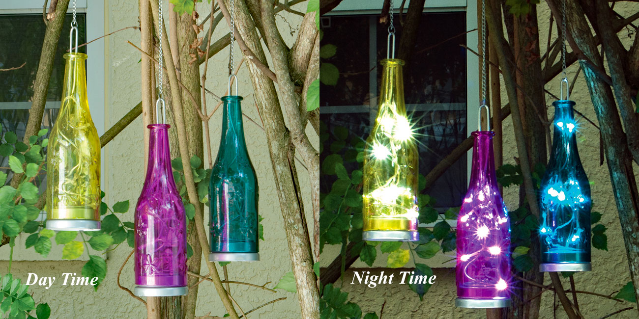 Battery Operated Hanging Fiesta Glass Bottles - Pink Blue and Yellow ...