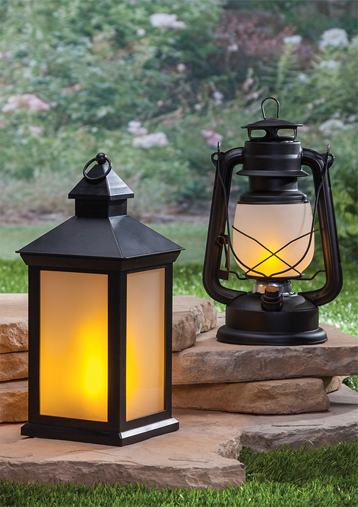 12 5 Inch Fireglow Led Plastic Lantern With Frosted Panes