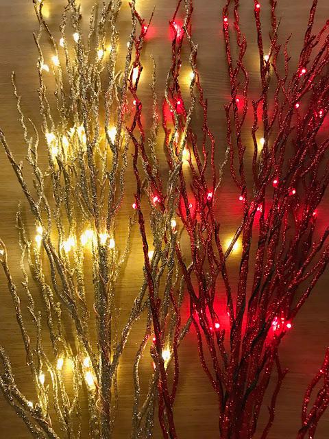 Bethlehem Lights Battery Operated Red Led Glitter Branch