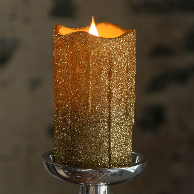 Simplux Led Gold Glittered Dripping Candle Moving Flame 3x5