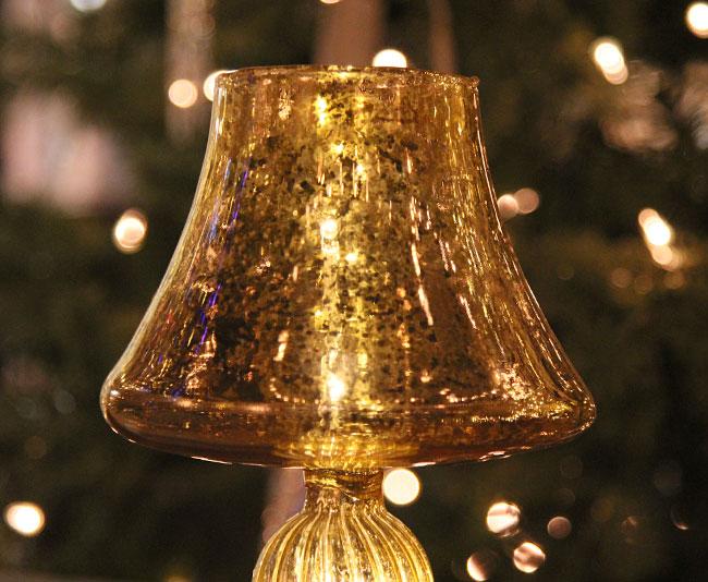 Illuminated gold mercury glass centerpiece lamp inch