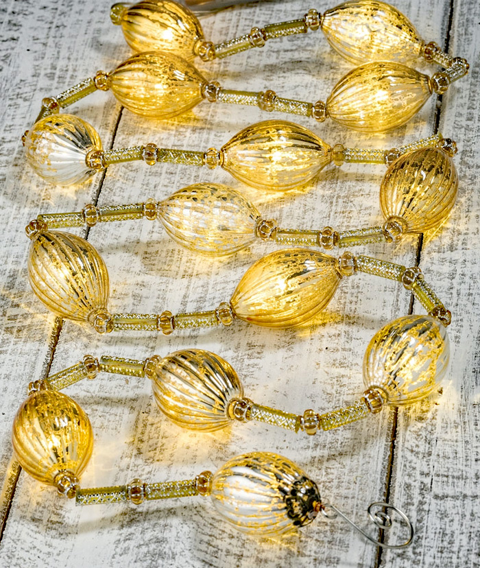 Battery Operated Twinkling Gold Mercury Glass LED String Lights ...