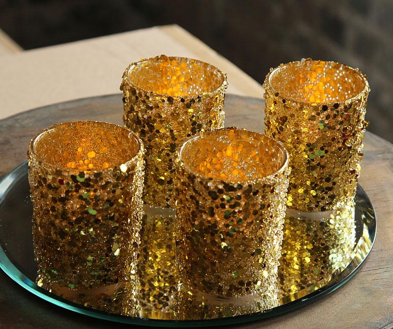 Gold Sequins Votive Holders 2 5 Inch Set Of 4