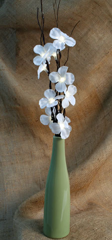 Lighted Floral Arrangement - 10 White Plum Flowers Green Vase