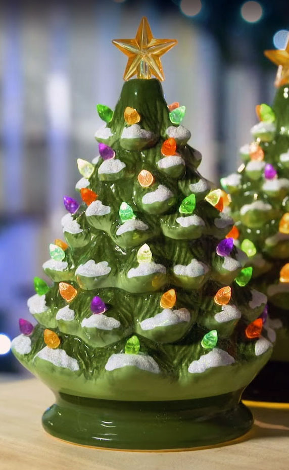 Lighted Green Ceramic Dolomite Christmas Tree Optional Music Setting Batteries Incl