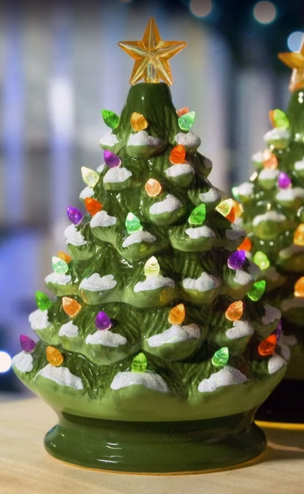 green musical ceramic dolomite christmas tree multi color lights batteries included timer