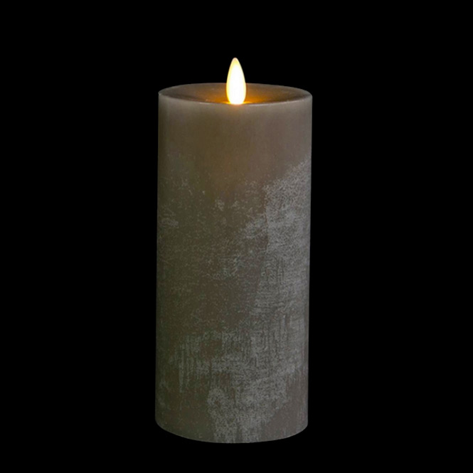 Moving Flame Candle 9 Inch Grey Flat Top Chalk Finish