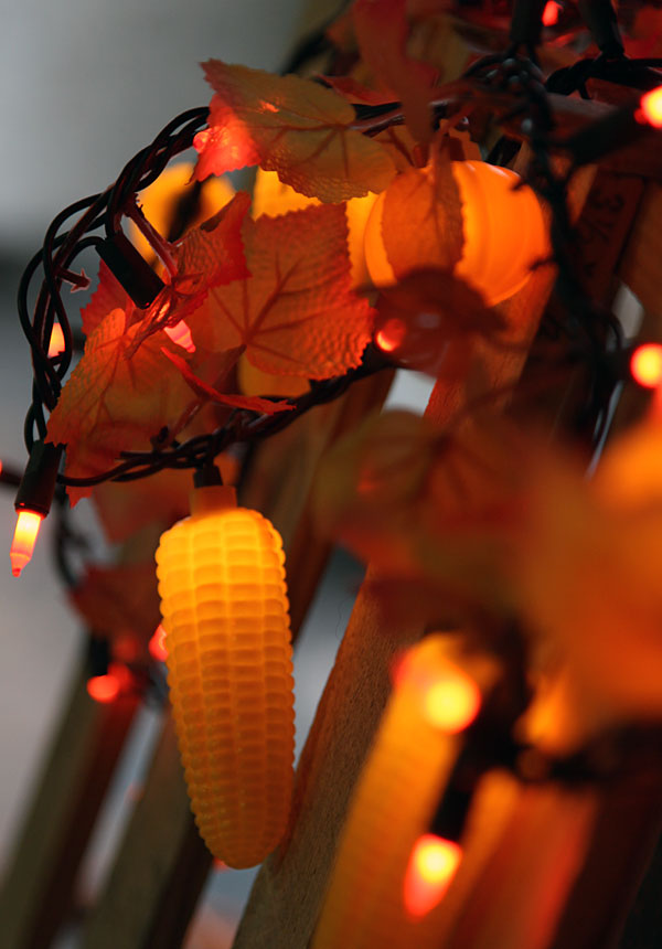 Maple Garland String Lights : 9 Foot Harvest Garland - 50 Lights, Maple Leaves, Corn and Pumpkins - Buy Now