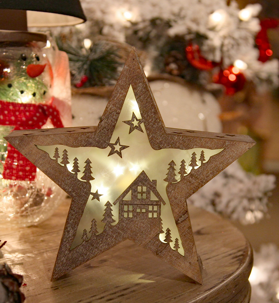 8 inch lighted hologram 3d house in wood star design led for 3d star christmas decoration