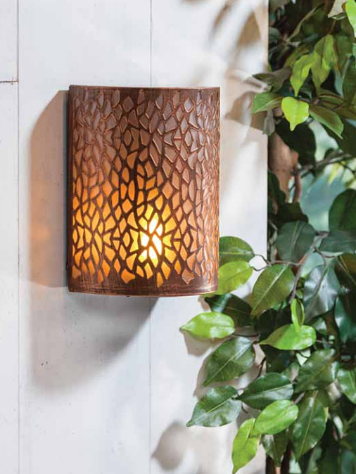 Fireglow Led Sconce Brushed Copper Battery Operated 8 Inch Timer