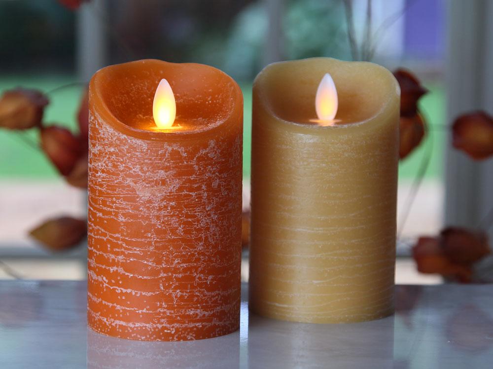 Iflicker Rustic Finish Amber Pillar 3 X 5 Inch Timer