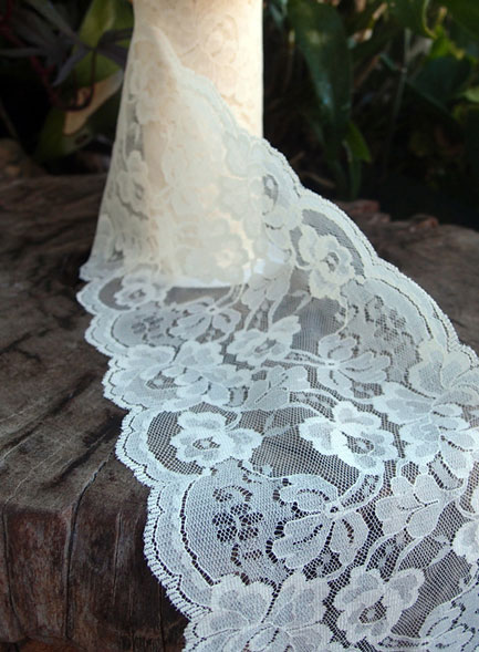 Ivory Lace Ribbon Scalloped Edge 9 Inch X 10 Yard Roll