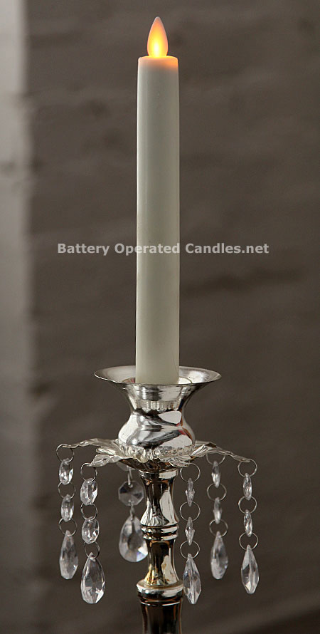 10 Inch Ivory Moving Flame Battery Operated Taper Candle