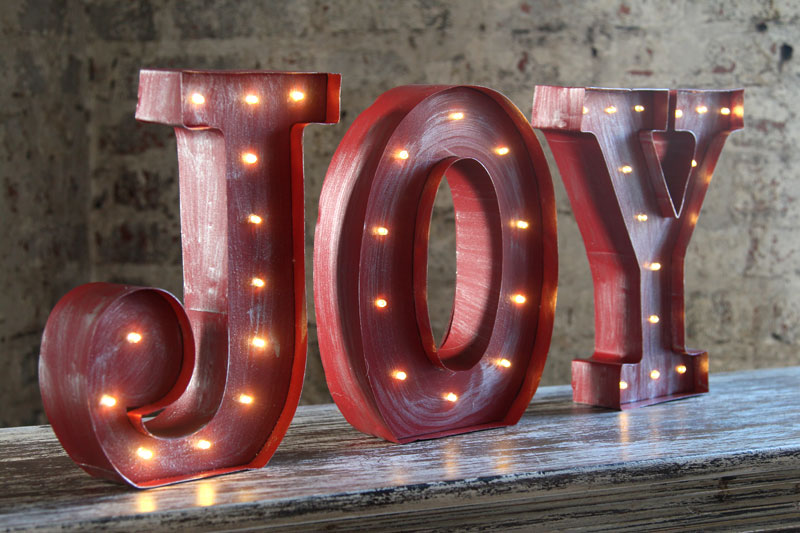 Joy gone missing simply for one for Lighted letters joy