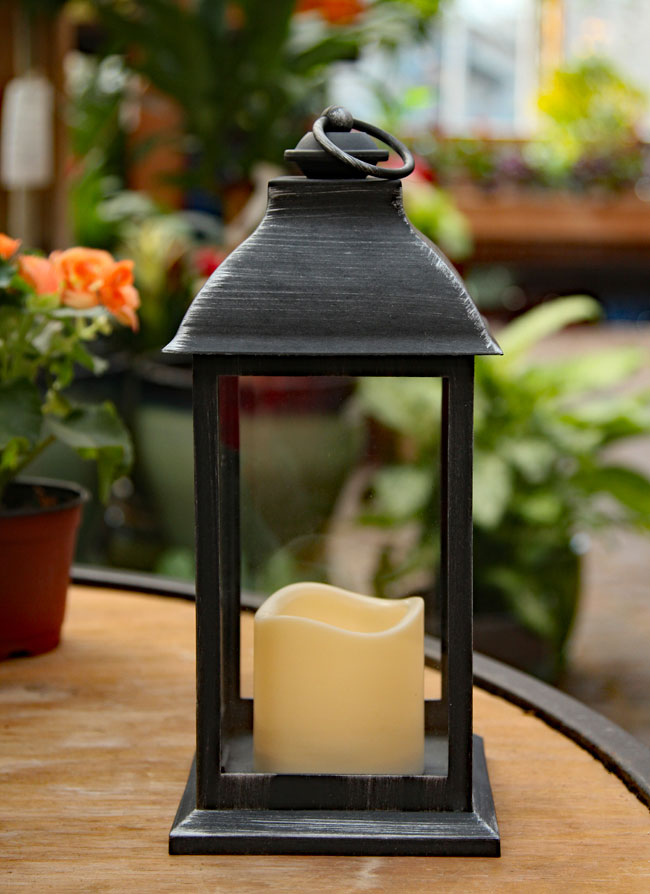 Battery Operated Brushed Black Candle Lantern 12 Inch