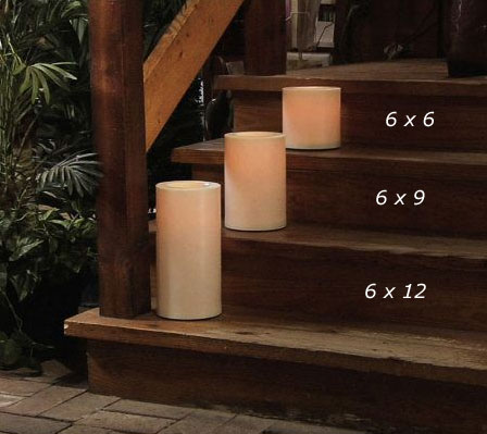 Outdoor 6 x 12 Candle Impressions Cream Flameless Candle