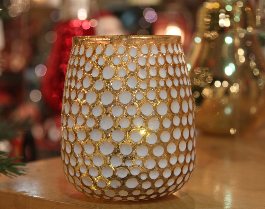 Gold Lighted Glass Votive With String Light - Battery Operated 5.5 Inch - Buy Now