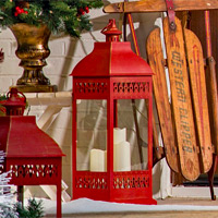 Battery operated candles metal lanterns for Large outdoor christmas candles