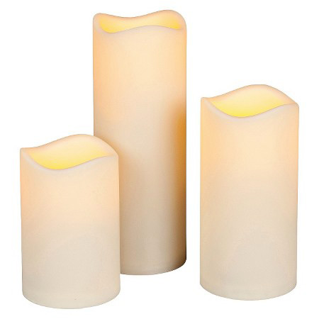 4 5 inch diameter set of 3 flameless large outdoor resin for Large outdoor christmas candles