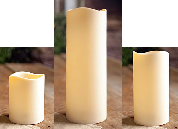 4 5 Inch Diameter Set Of 3 Flameless Large Outdoor Resin