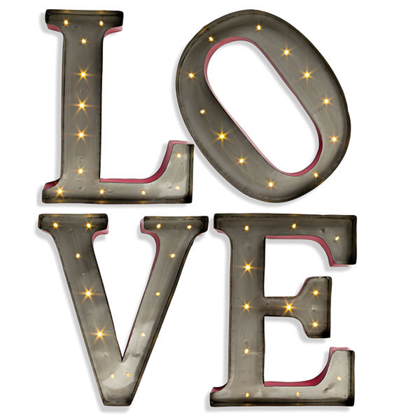 Large LED Wall Art   15 Inch Lighted Metal Letters   LOVE