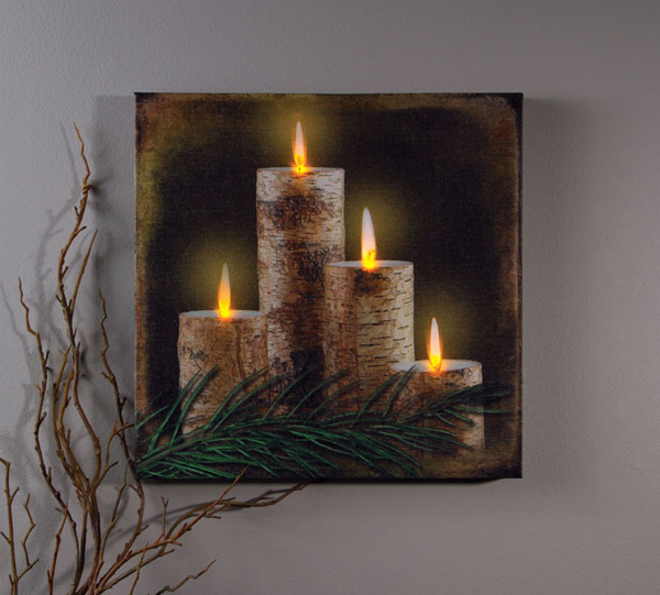 Battery Operated Candles Lighted Canvas Wall Art