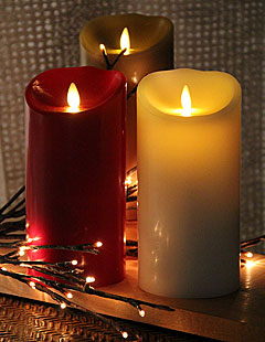 Flame Burgundy Candle Battery Operated 3.5 x 7 Timer - Remote Ready