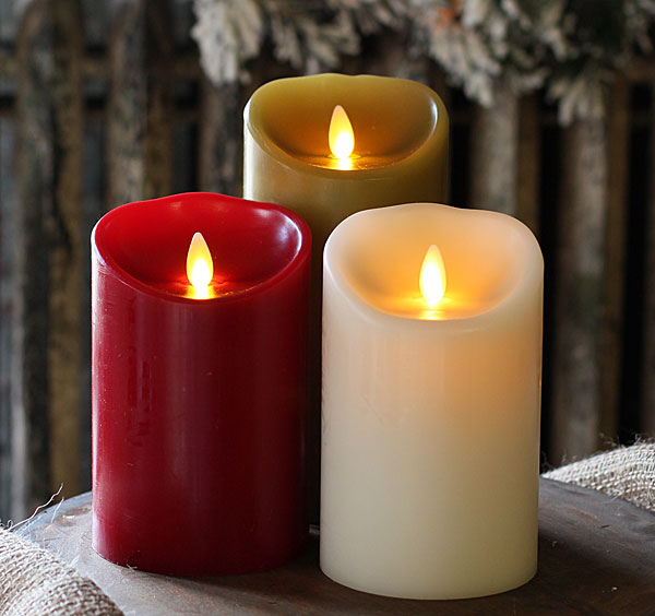 moving flame burgundy candle battery operated 35 x 5 timer remote ready