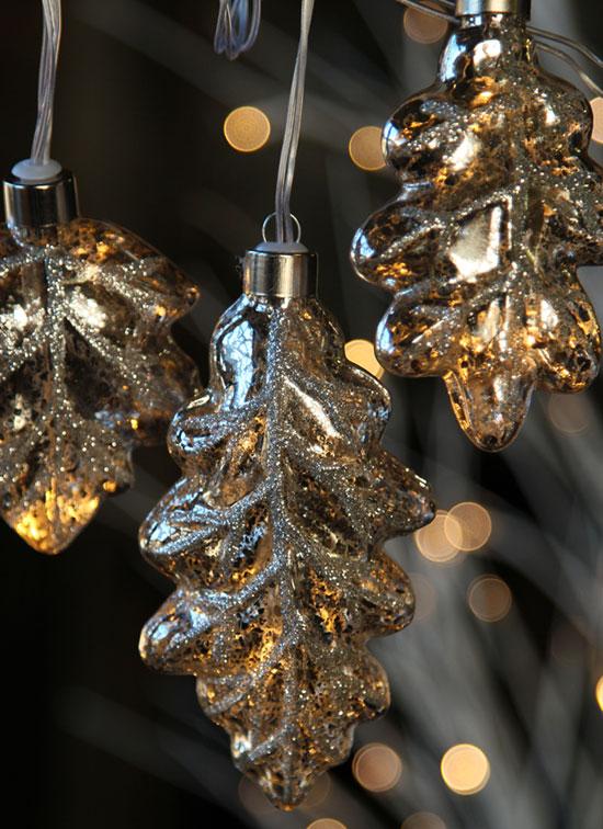 Silver Mercury Glass String Lights Leaf Design Battery
