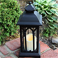 Beautiful Battery Operated 12 Inch Black Metal Candle Lantern   6 Hour Timer Amazing Design