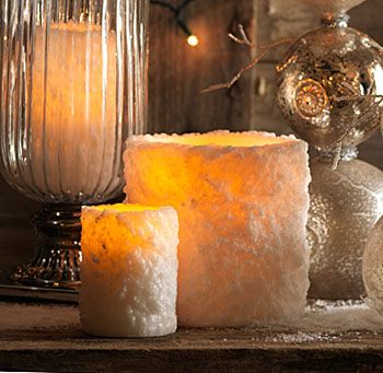 3 x 4 Inch White Heavy Textured LED Battery Operated Candle ...