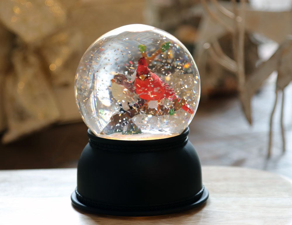 Lighted Cardinal Snow Globe With Swirling Glitter Timer