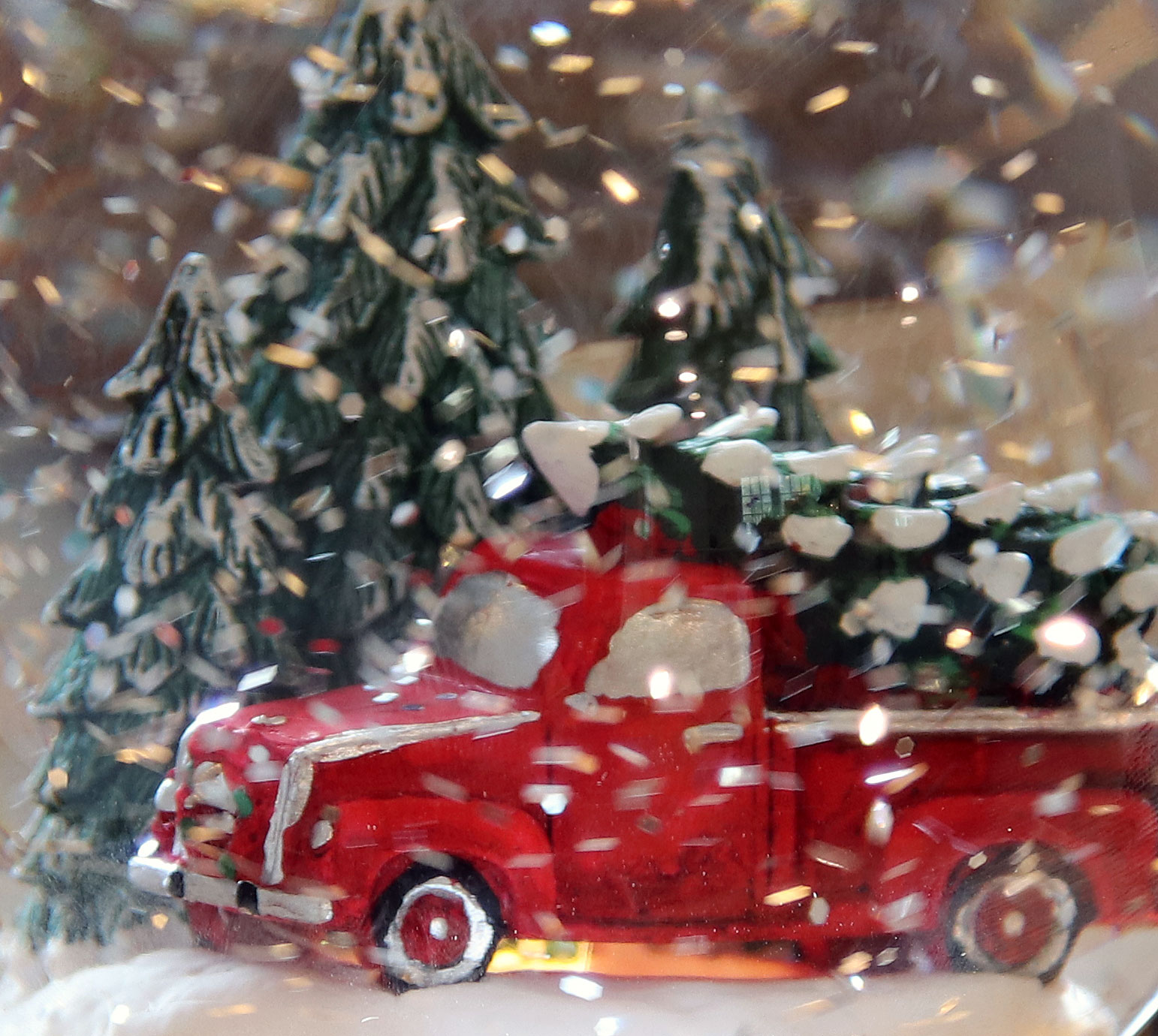 Red Truck With Tree Lighted Snow Globe With Swirling