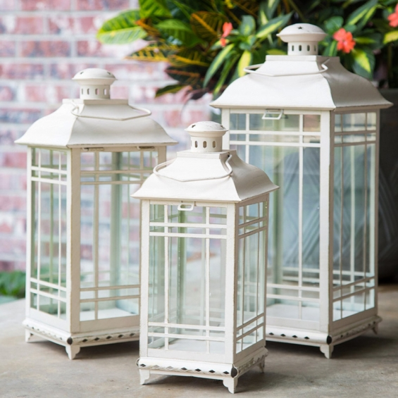 Set Of 3 Antique White Candle Lanterns 14