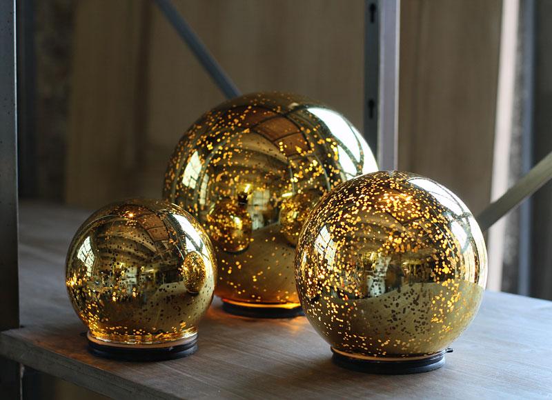 3 Indoor Outdoor Led Lights Xmas Balls Mercury Glass