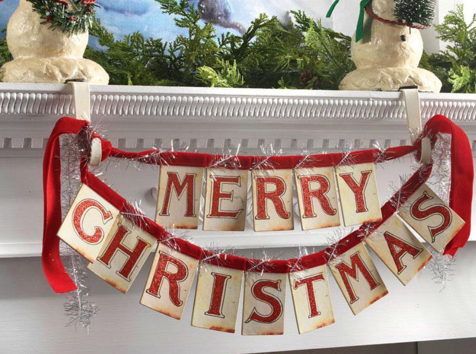 14 inch merry christmas banner ornament red velvet ties from raz