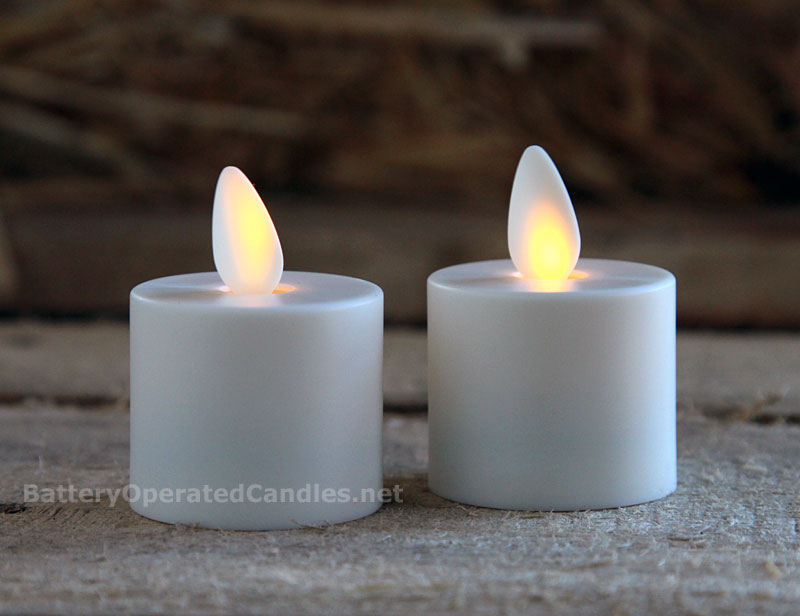 Moving Flame Tealights Battery Operated Set Of 2 With Timer