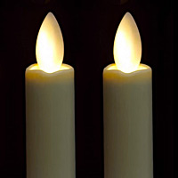 mirage 2 pack 9 inch cream battery operated tapers candles timer